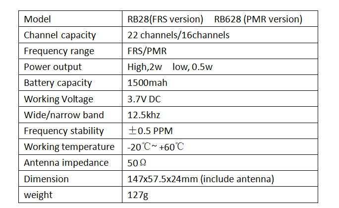 NOAA FRS license-free radio RB28