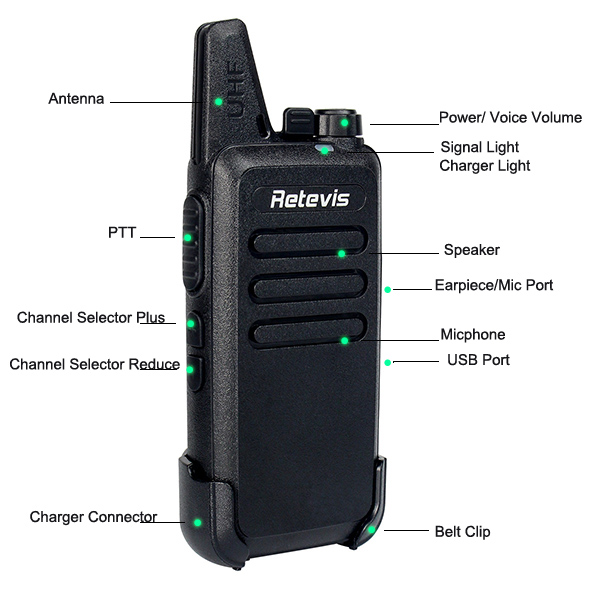 Pair RT22 Portable Two Way Walkie Talkie Radios