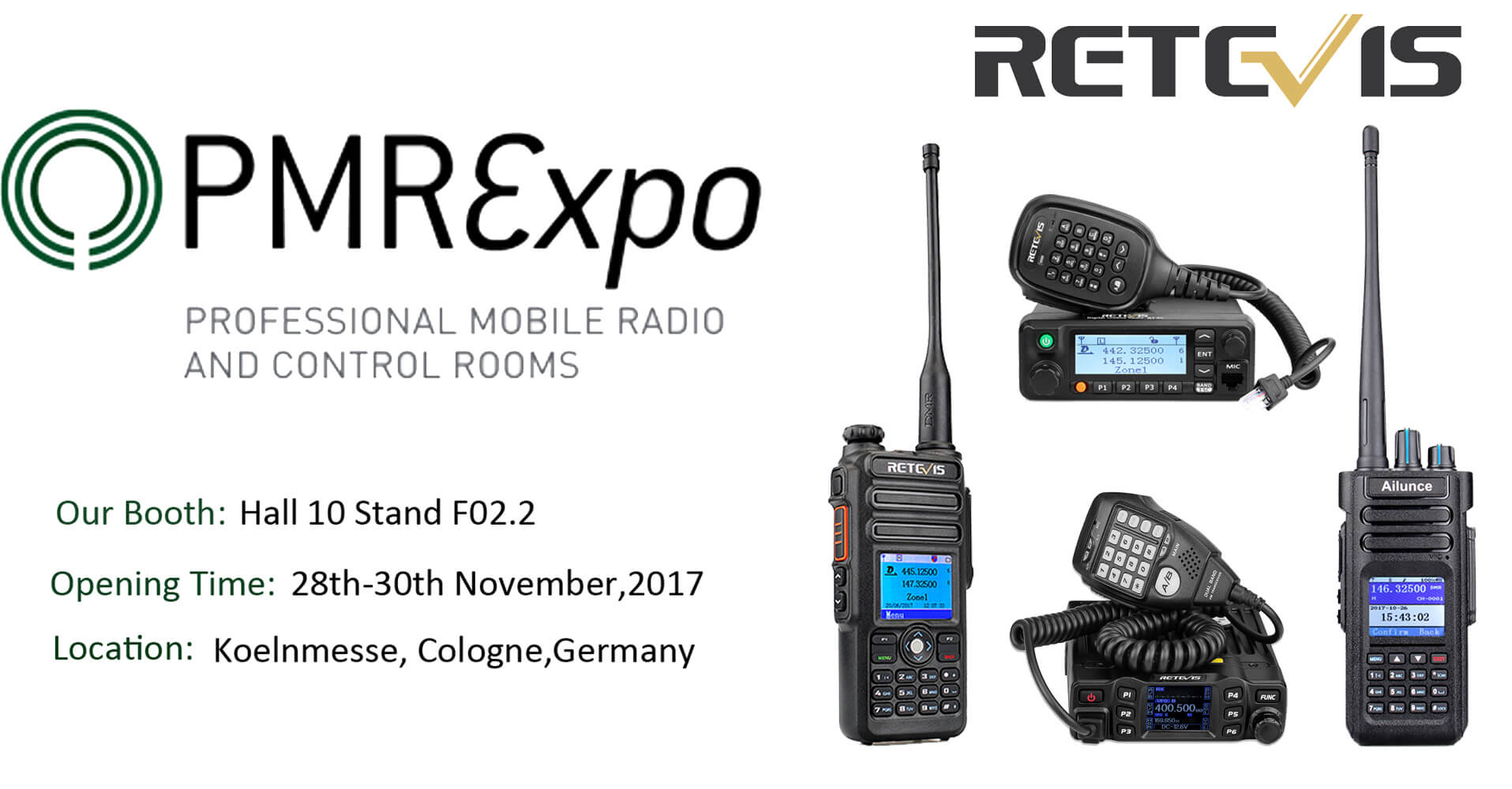 retevis  ailunce will present pmrexpo 2017 at koelnmesse