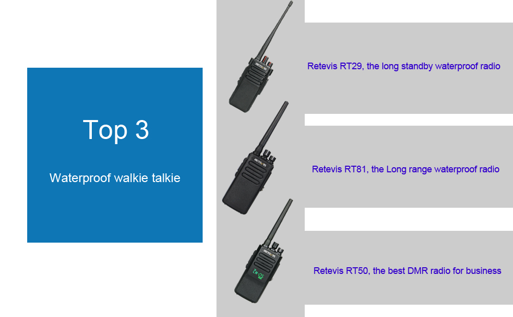 top3 retevis waterproof walkie talkie