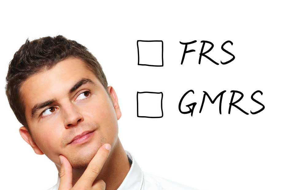 how to choose the GMRS and FRS