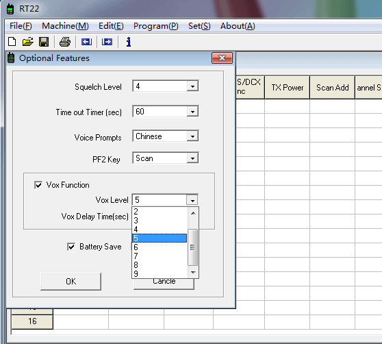 how to use vox function in RT22 radio