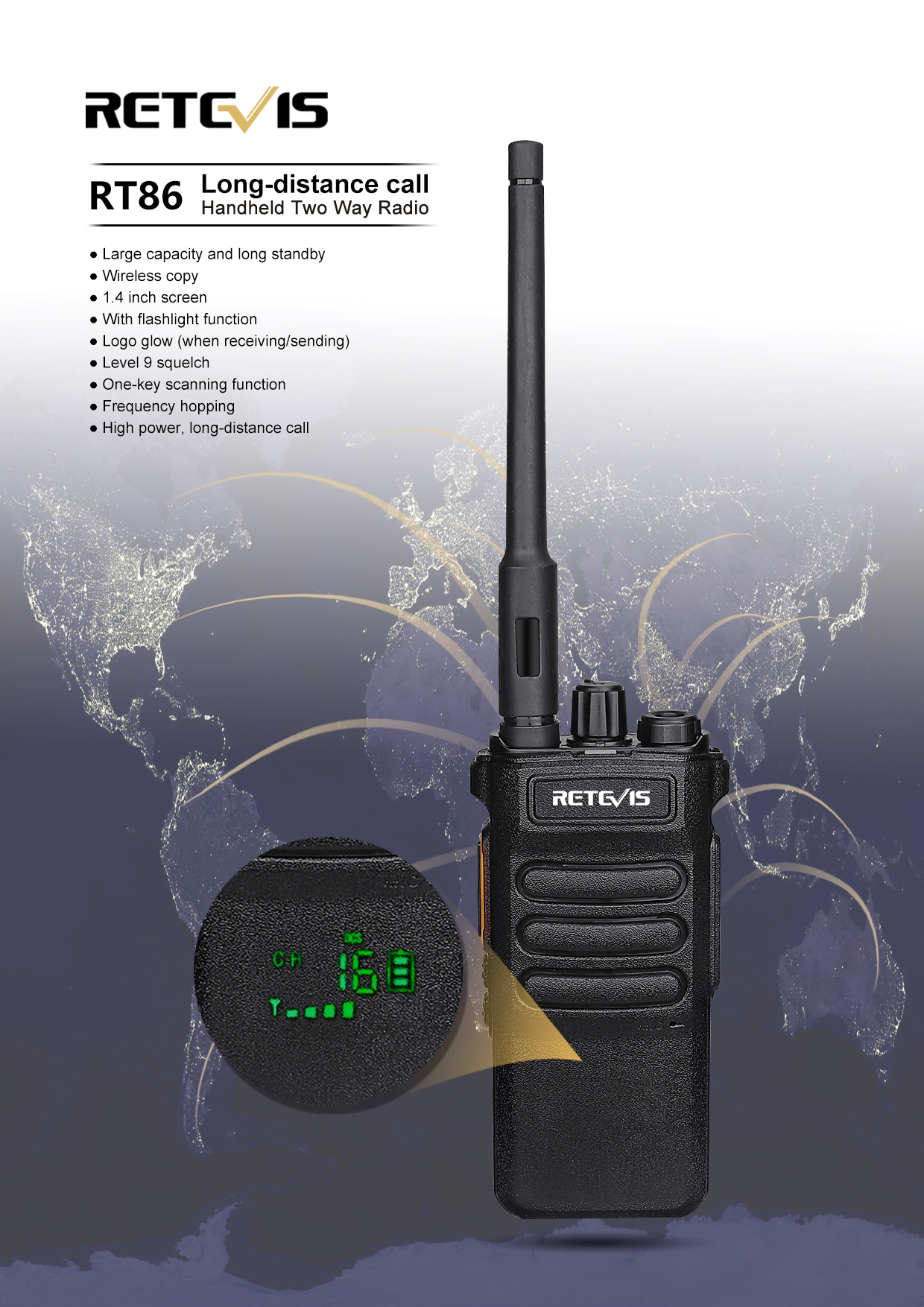 Retevis RT86 High Power Long Standby Wireless Copy Flashlight Two Way Radio Giveaway